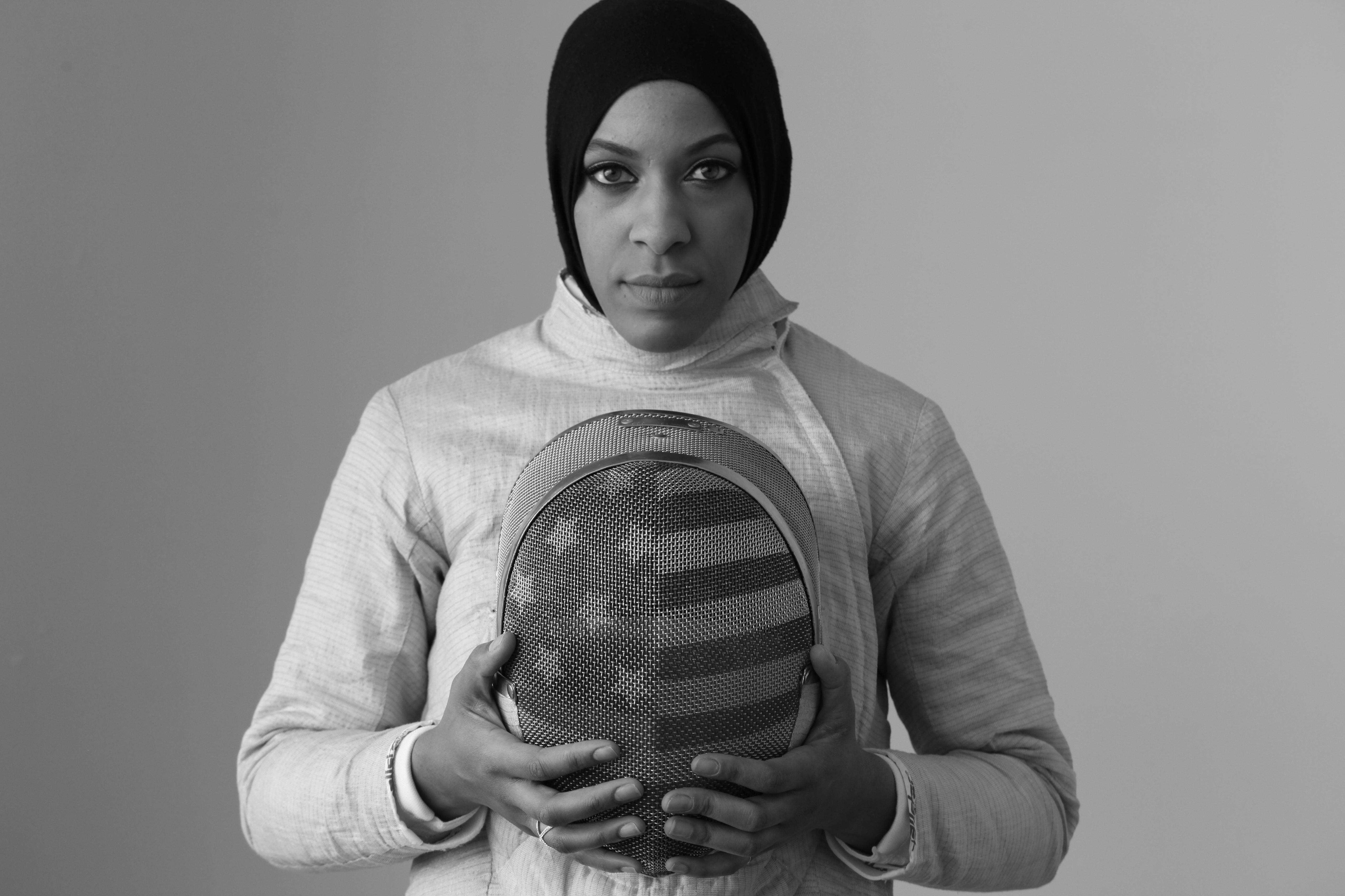 Ibtihaj Muhammad poses for a portrait at Canoe Studios in New York City, New York on March 3, 2016. (Photo by Lynn Johnson/The Players' Tribune)
