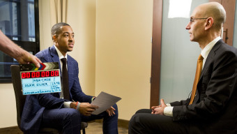 CJ McCollum interviews NBA Commissioner Adam Silver before the 2016 NBA Draft on Thursday, June 23, 2016 in New York City, New York. (Photo by Taylor Baucom/The Players' Tribune)