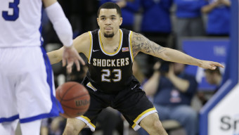 Wichita State guard Fred VanVleet plays defense during the first half of an NCAA college basketball game against Drake, Tuesday, Feb. 9, 2016, in Des Moines, Iowa. (AP Photo/Charlie Neibergall)