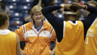 Tennessee head coach Pat Summitt laughs with her players during the team's basketball practice, Saturday, March 24,2 007, in Dayton, Ohio. Tennessee will play Marist on Sunday in a Dayton Regional semifinal. (AP Photo/Al Behrman)