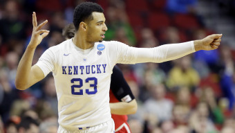 Kentucky guard Jamal Murray reacts after making a 3-point basket during the second half of a first-round men's college basketball game against Stony Brook in the NCAA Tournament, Thursday, March 17, 2016, in Des Moines, Iowa. Murray scored 19 points as Kentucky won 85-57. (AP Photo/Charlie Neibergall)
