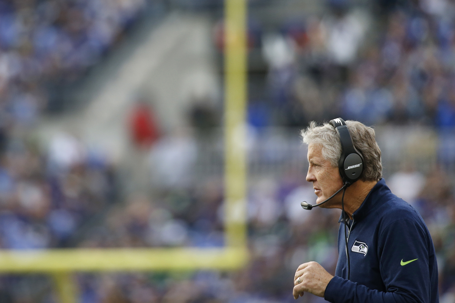 Seattle Seahawks head coach Pete Carroll walks on the field in the second half an NFL football game against the Baltimore Ravens, Sunday, Dec. 13, 2015, in Baltimore. (AP Photo/Patrick Semansky)