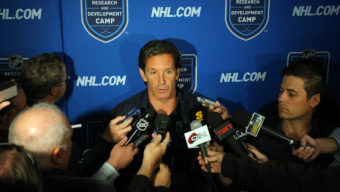 ETOBICOKE, CANADA - AUGUST 18:  Brendan Shanahan Sr vice president of NHL Player Safety and Hockey Operations speaks to the media during the NHL Research Development and Orientation Camp held at the Mastercard Centere on August 18, 2011 in Etobicoke, Ontario, Canada.  (Photo By Dave Sandford/NHLI via Getty Images)