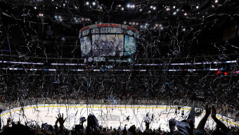 LOS ANGELES, CA - JUNE 13:  Confetti falls as the Los Angeles Kings celebrate defeating the New York Rangers 3-2 in double overtime of Game Five to win the 2014 Stanley Cup Final at Staples Center on June 13, 2014 in Los Angeles, California.  (Photo by Kevork Djansezian/Getty Images)