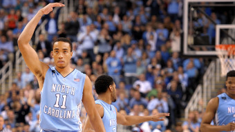GREENSBORO, NC - MARCH 14: Brice Johnson #11 of the North Carolina Tar Heels reacts against the Notre Dame Fighting Irish during the finals of the 2015 Men's ACC Tournament at the Greensboro Coliseum on March 14, 2015 in Greensboro, North Carolina. (Photo by Lance King/Getty Images)