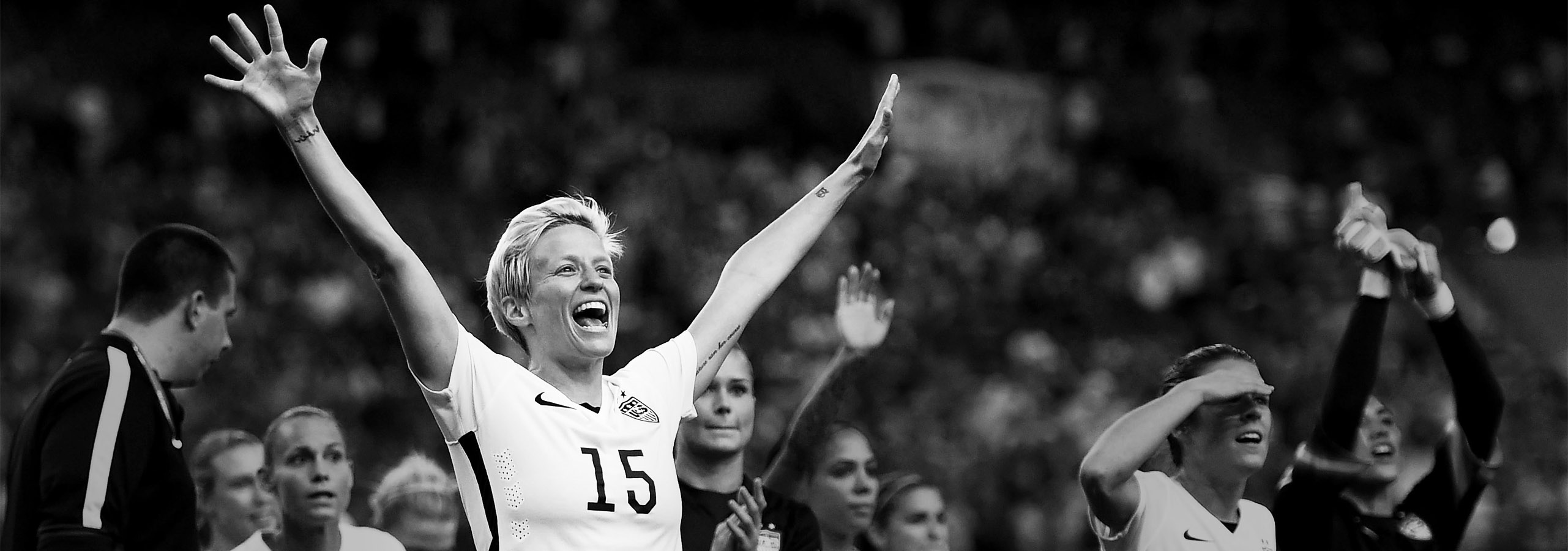 MONTREAL, QC - JUNE 30:  Megan Rapinoe of USA celebrates with team mates after winning the FIFA Women's World Cup 2015 Semi Final match between USA and Germany at Olympic Stadium on June 30, 2015 in Montreal, Canada.  (Photo by Lars Baron - FIFA/FIFA via Getty Images)