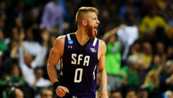 NEW YORK, NY - MARCH 18:  Thomas Walkup #0 of the Stephen F. Austin Lumberjacks reacts in the second half against the West Virginia Mountaineers during the first round of the 2016 NCAA Men's Basketball Tournament at Barclays Center on March 18, 2016 in the Brooklyn borough of New York City.  (Photo by Elsa/Getty Images)