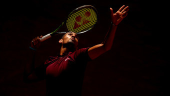 MADRID, SPAIN - MAY 04:  Nick Kyrgios of Australia serves during his straight sets victory against Stanislas Wawrinka of Switzerland in their second round match during day five of the Mutua Madrid Open tennis tournament at the Caja Magica on May 04, 2016 in Madrid.  (Photo by Clive Brunskill/Getty Images)