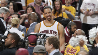 CLEVELAND, OH - MAY 17:  Channing Frye #9 of the Cleveland Cavaliers celebrates after a victory in Game One of the Eastern Conference Finals against the Toronto Raptors during the 2016 NBA Playoffs on May 17, 2016 at Quicken Loans Arena in Cleveland, Ohio. NOTE TO USER: User expressly acknowledges and agrees that, by downloading and/or using this Photograph, user is consenting to the terms and conditions of the Getty Images License Agreement. Mandatory Copyright Notice: Copyright 2016 NBAE  (Photo by David Liam Kyle/NBAE via Getty Images)