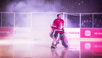 SYDNEY, AUSTRALIA - JUNE 25:  Ben Scrivens goalie for Team Canada makes his way onto the ice for the start of the Wayne Gretzky Ice Hockey Classic,  between Team USA and Team Canada at Qudos Bank Arena on June 25, 2016 in Sydney, Australia.  (Photo by Jessica Hromas/Getty Images)