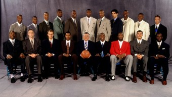 NEW YORK - JUNE 26:  The Draftees pose for a group photo with NBA Commissioner David Stern after being selected in the first round of the 1996 NBA Draft on June 26, 1996 at Madison Square Garden in New York, New York. NOTE TO USER: User expressly acknowledges that, by downloading and or using this photograph, User is consenting to the terms and conditions of the Getty Images License agreement. Mandatory Copyright Notice: Copyright 1996 NBAE (Photo by Nathaniel S. Butler/NBAE via Getty Images)