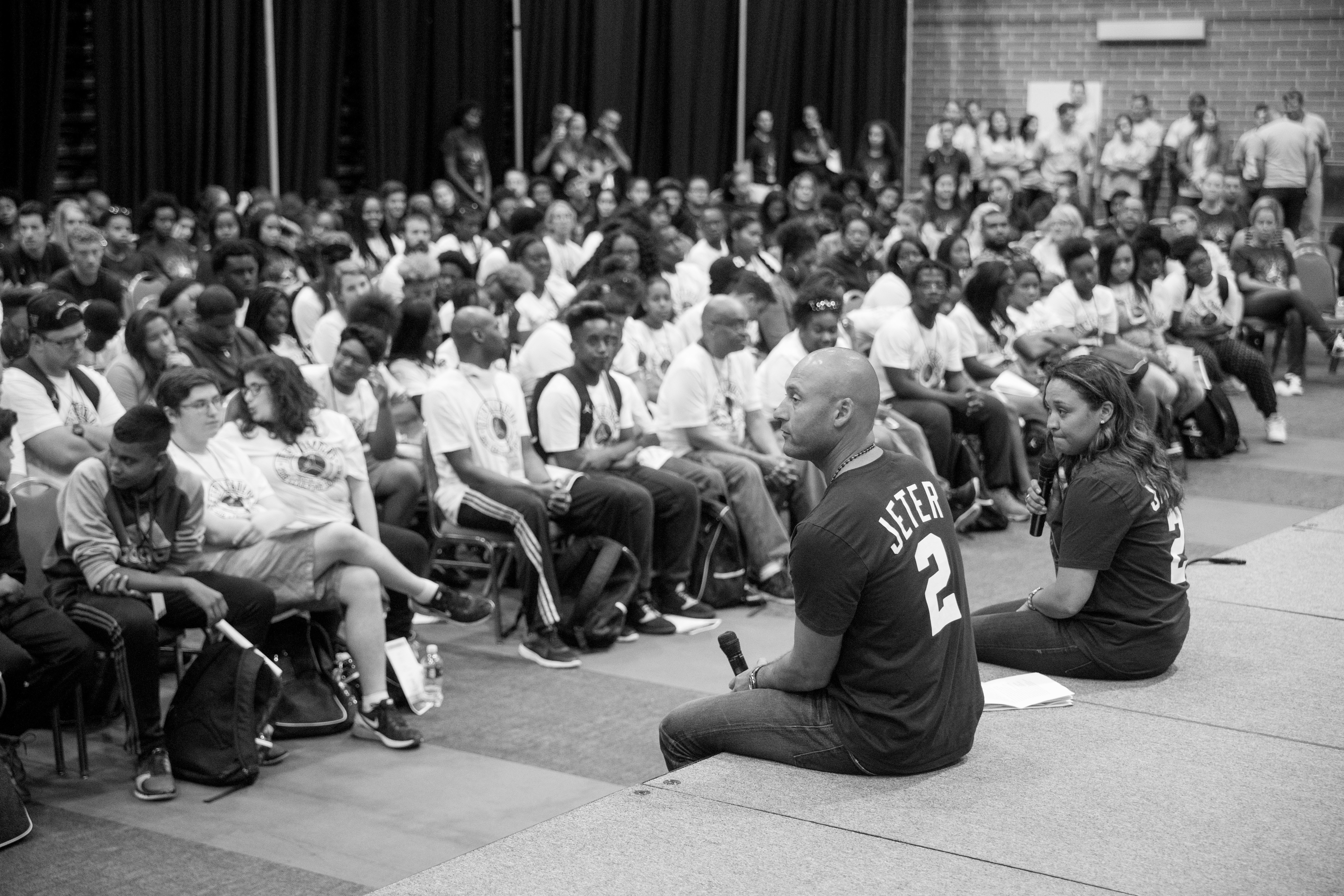 """8/9/16 4:27:59 PM -- The Players' Tribune: Jeter's Leaders. Photography of the Derek Jeter Turn Two foundation """"Jeter's Leaders"""" Summit at the UIC forum in Chicago, IL Todd Rosenberg/The Players' Tribune"""